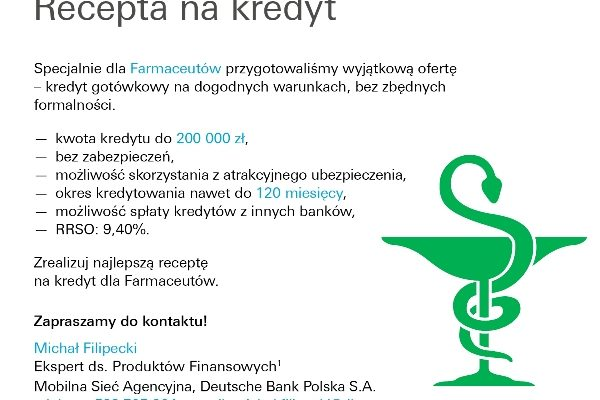 Recepta na kredyt – Deutsche Bank – oferta dla farmaceutów