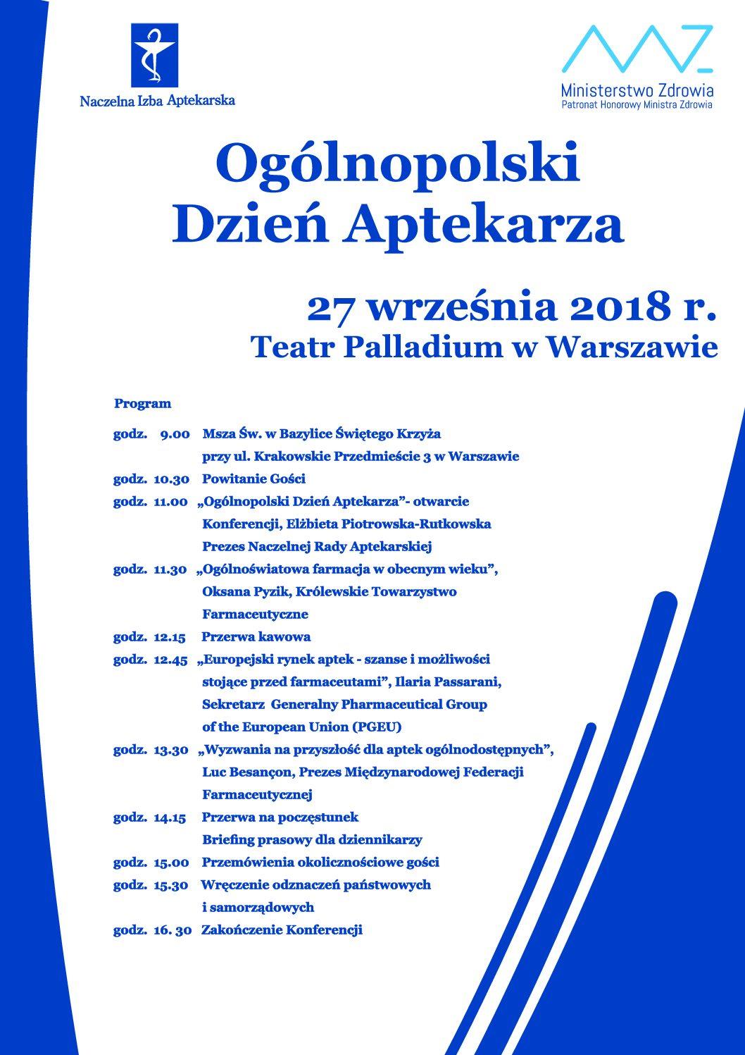 Ogólnopolski Dzień Aptekarza w Warszawie – 27 września 2018 r.
