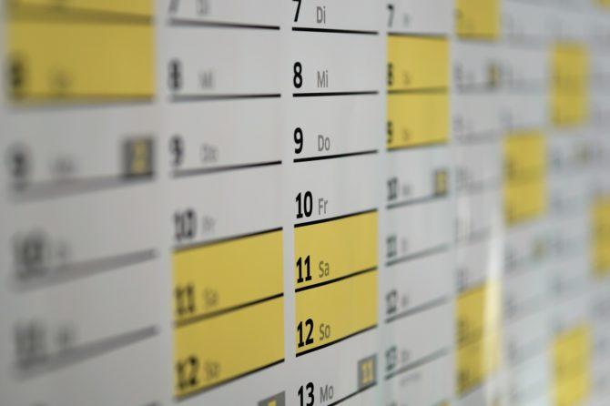 Kalendarz wydarzeń (spotkań, szkoleń, itp.)|2020 r.